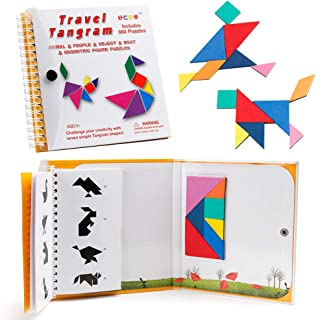 Coogam Travel Tangram Puzzle - Magnetic Pattern Block Book Road Trip Game Jigsaw Shapes Dissection STEM Games with Solution for Kid Adult Challenge - IQ Educational Toy Gift Brain Teasers 360 Patterns
