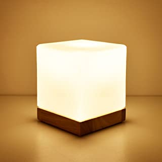 WSHFOR Cube Glass Modern Dimmable Wooden Table Lamp white with E27 Lamp base Oak bedside reading LED desk lamp (Color : Button switch)