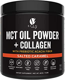 MCT Oil Powder + Collagen + Prebiotic Acacia Fiber - 100% Pure MCT's - Perfect for Keto - Energy Boost - Appetite Control - Healthy Gut Support - Salted Caramel