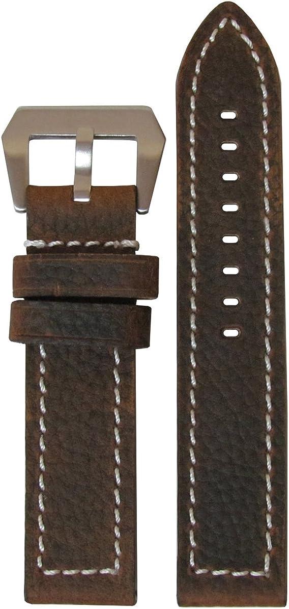 26mm Ranking Super sale TOP15 Panatime Brown Vintage Buffalo Deep Genuine Wat Oil Leather