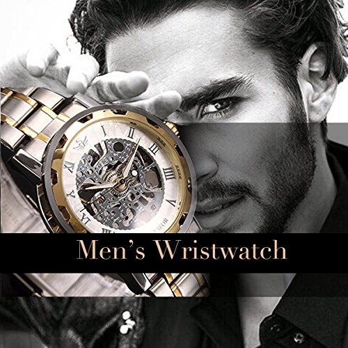 ALPS Men's Classic Skeleton Stainless Steel Mechnical Watch with Link Bracelet