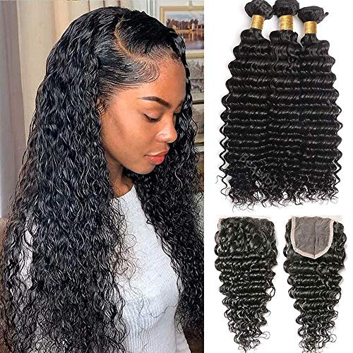 Brazilian Virgin Human Hair Deep Wave 3 Bundles with Closure Free Part Deep Curly Bundles with Closure 100% Unprocessed Remy Human Hair Wet and Wavy Bundles with Closure Natural Black Loose Deep Hair