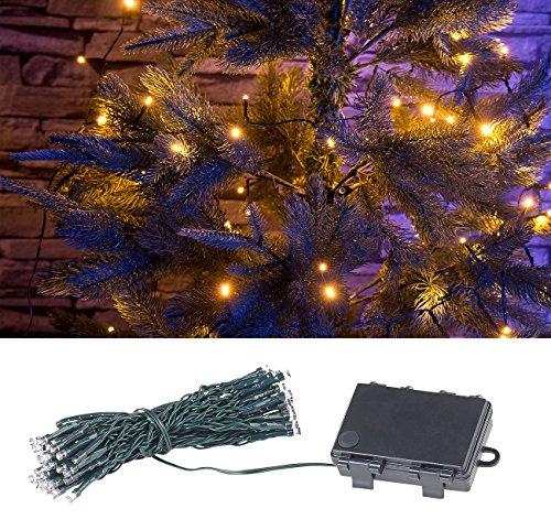 Lunartec Lichtkette: LED-Lichterkette mit 50 LEDs, Timer, Batterie, warmweiß, 5 m, IP44 (Deko Lichterkette mit Timer)
