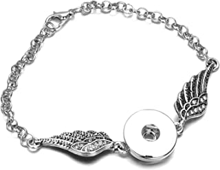 HOUBL New Bangles Silver Plated Crystal Bracelet 3 Buttons Jewelry Fit 18mm and 12mm Button Jewelry Bracelet ZE352