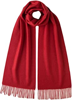 Unisex Plain Woven Cashmere Scarf - Classic Red