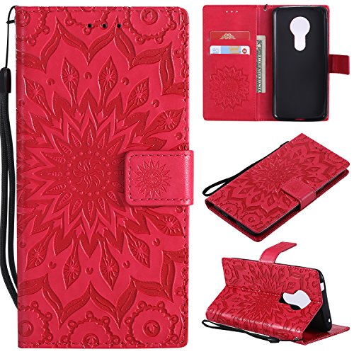 A-slim Moto G6 Play Case,Moto G6 Forge Case,Moto E5 Case,Wallet Case,PU Leather Case Sun Flower Pattern Embossed Purse with Kickstand Flip Cover Card Holders Hand Strap for Moto G6 Play Red