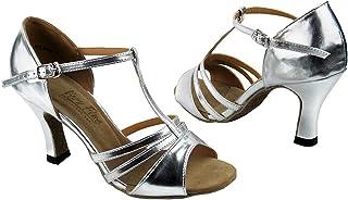 Very Fine Women`s Salsa Ballroom Tango Latin Dance Shoes Style 1683 Bundle with Plastic Dance Shoe Heel Protectors