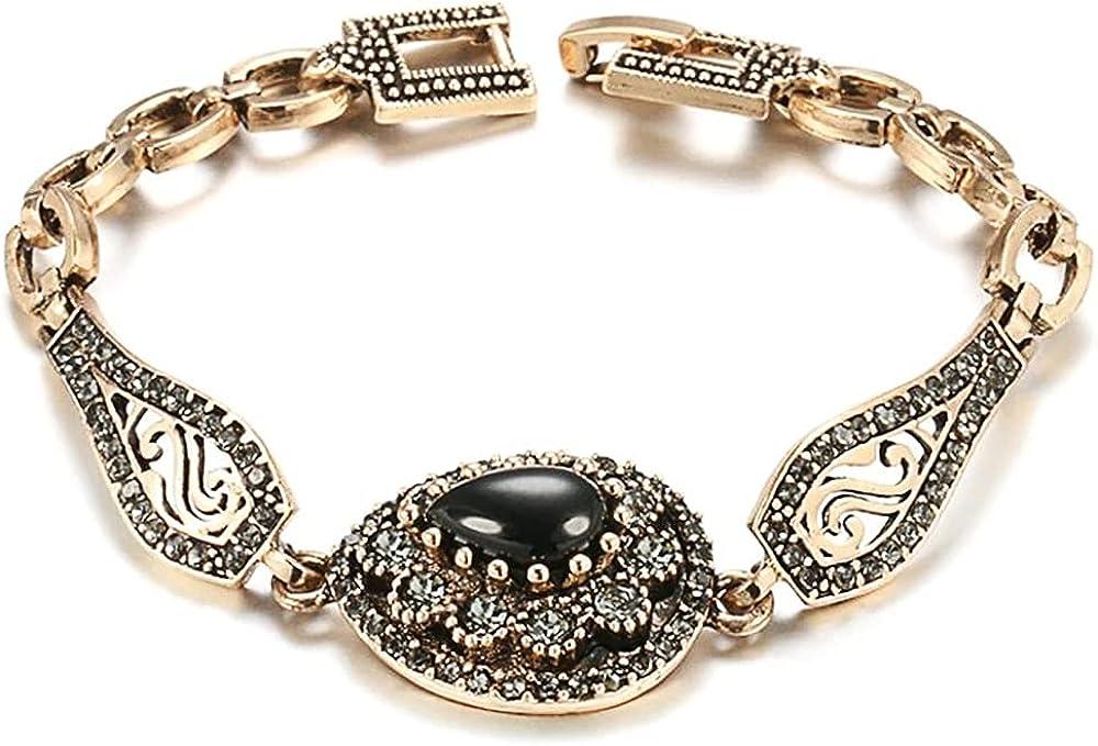Chain & Link Bracelets for Women, Charm Boho Black Stone Bracelet, Antique Gold Color Gray Crystal Ethnic for Women Girls Motivational Birthday
