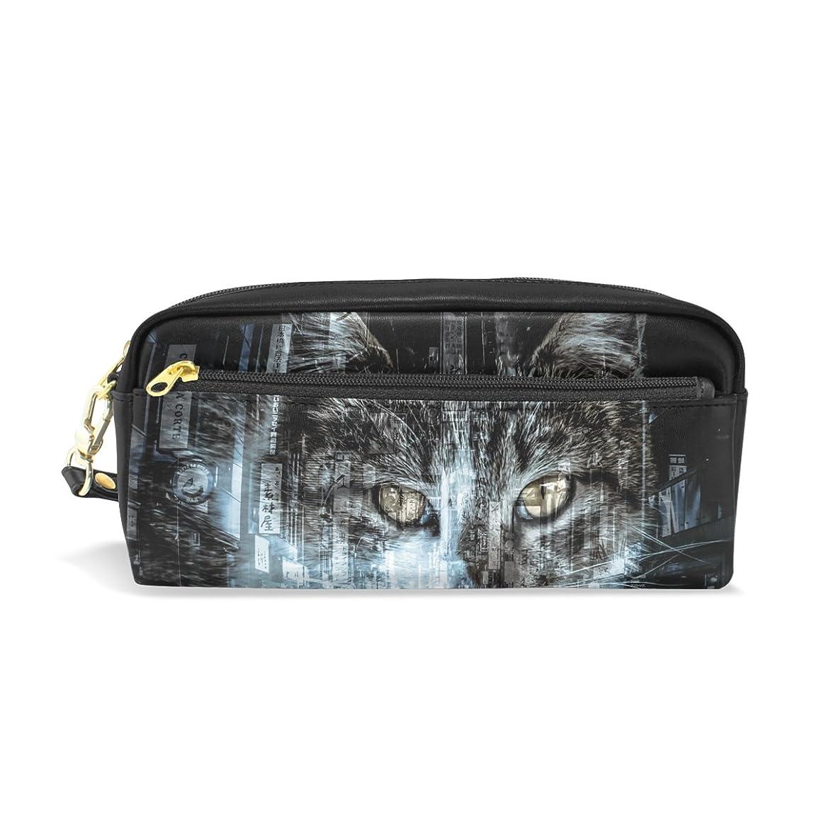 ハプニング一月森AOMOKI ペンケース 化粧ポーチ 小物入り 多機能バッグ レディース 猫 フォトモンダージョ 歓楽街 ねこ 繁華