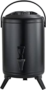 Stainless Steel Insulated Beverage Dispenser Insulated Thermal Hot and Cold Beverage Dispenser for Hot Tea & Coffee, Cold Milk, Water, Juice,Soup 1.6 Gallon
