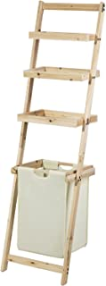 SoBuy® FRG160-N Étagère Murale Style échelle pour Salle de Bain avec 1 Panier à Linge Amovible et 3 Niveaux de Rangement