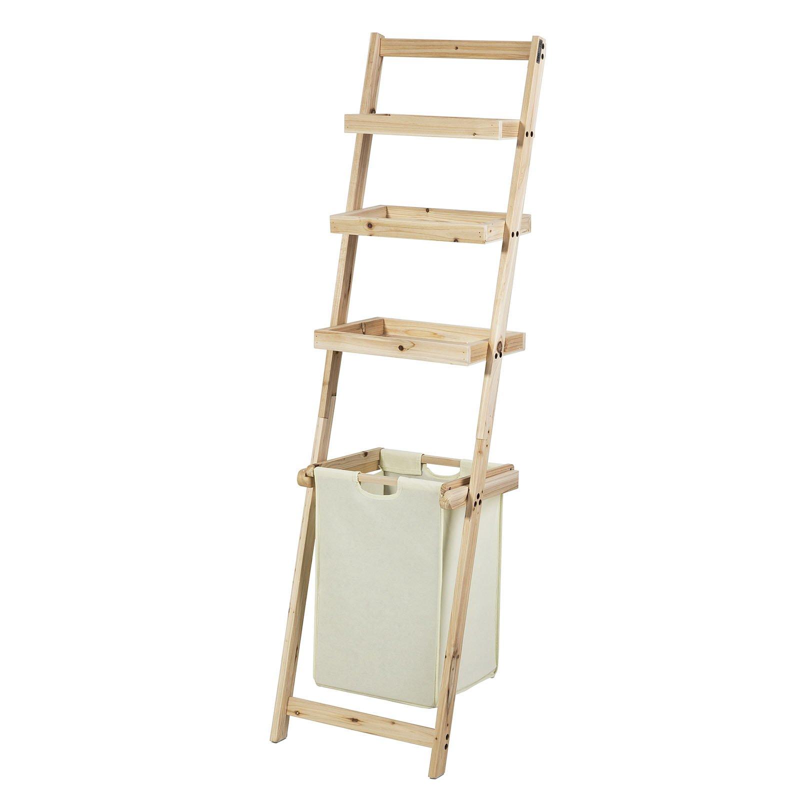 SoBuy® FRG160-N - Estantería de pared estilo escalera para el baño con 1 cesto extraíble y 3 estantes de almacenamiento: Amazon.es: Hogar