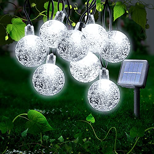 Ibello Guirnaldas Luces Exterior Solares, 30 LED Cadena de Luces Impermeable 8 Modos de iluminación para Interiores y Exteriores Dormitorio, Navidad, Boda, Jardín, Fiesta (blanco frío)