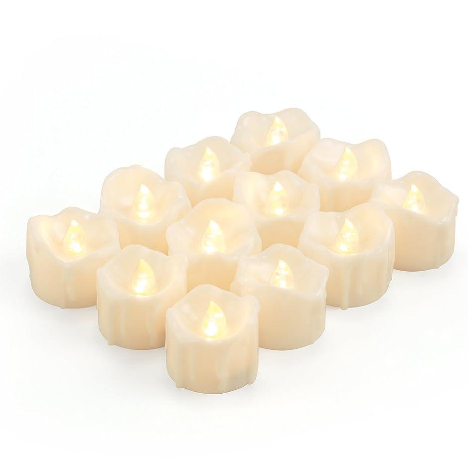 継承大胆なトリムKohree LED キャンドルライト 無香料 揺らぐ炎 涙型 ティーライトゆらゆら揺れる 装飾用 本物にそっくり ledキャンドル ティーライト 暖白 クリスマス/結婚式 12個セット