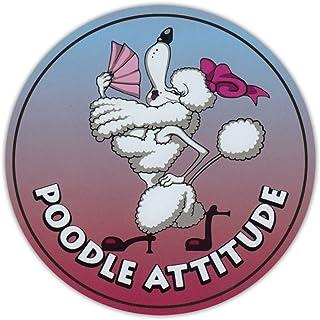 PotteLove Round Dog Breed Car Magnet - Poodle Attitude - Magnetic