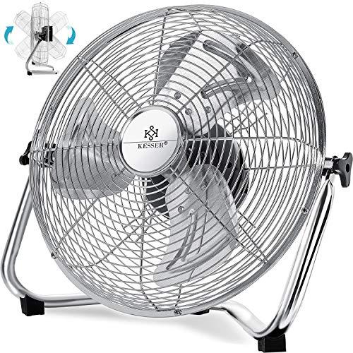 KESSER® Windmaschine Retro Stil | 30cm Ventilator in Chrom | Standventilator | Tischventilator Bodenventilator | 3-Stufen | robuster Stand | stufenlos neigbarer Ventilatorkopf | Chrom Silber