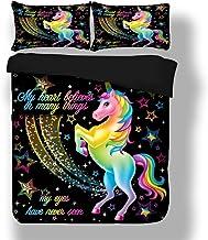 Stillshine Unicornio Funda de edredón y Funda de Almohada Arco Iris Caballo 3D Animal Unicornio Negro Juego de Cama 3 Piezas (Unicornio, 180 x 220 cm - Cama 90 cm)