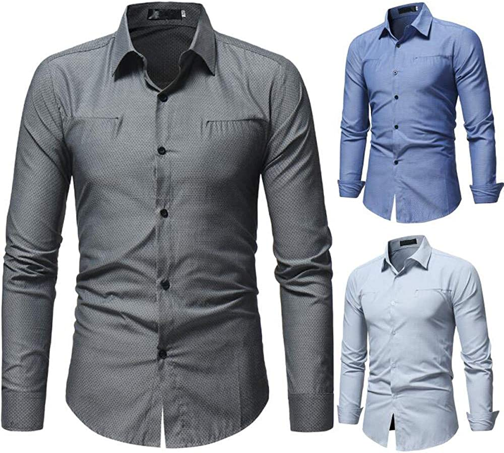 Hmlai Clearance Men Shirt Long Sleeve Slim Fit Fashion Solid Color Button Down Cotton Business Casual Dress Shirt (L, Gray)