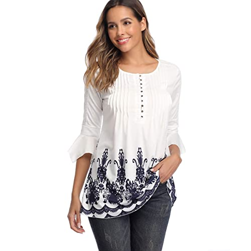 MISS MOLY Womens Lace Tunics Henley Shirts 3//4 Bell Sleeve Button up Ladies Blouse Tops Pleated Casual Flared Flowy Shirt