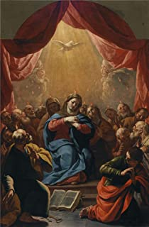 Polyster Canvas ,the Reproductions Art Decorative Canvas Prints Of Oil Painting 'Palomino Y Velasco Acisclo Antonio Pentecostes Ca. 1697 ', 16 X 24 Inch / 41 X 62 Cm Is Best For Kitchen Artwork And Home Decoration And Gifts