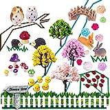 coardor adornos de jardín de hadas miniatura erizo seta búho árbol puente conejo pollito...