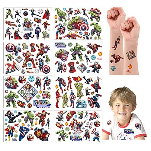 Tatuaggi temporanei per Bambini, 200+ Pcs 8 Sheet Marvel Avengers Tatuaggi Finti temporanei Adesivi per bambini Ragazzi festa di compleanno sacchetti regalo Giocattolo (8 Sheet, Marvel Avengers)
