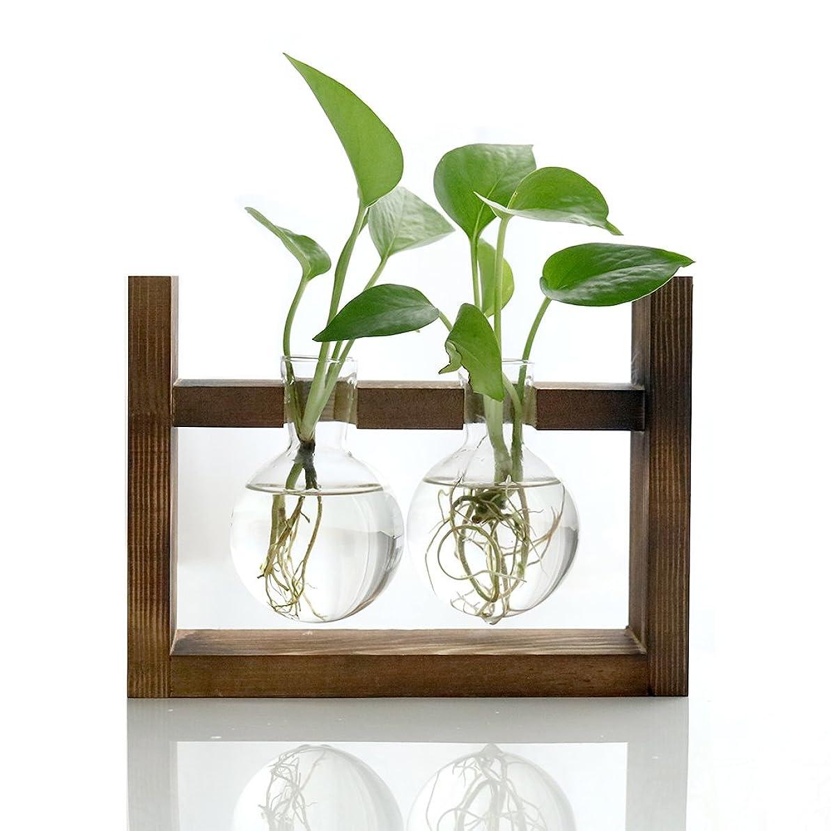 線キャッシュいろいろIvolador ヴィンテージ 花器 水耕栽培 レトロ 卓上花瓶 フラスコ 型 花瓶 木製枠 ガラス瓶 店飾り 部屋インテリア(瓶2つ)