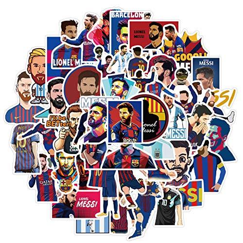 ARONTIME 50 pegatinas de Messi con diseño de estrella de fútbol y graffiti impermeables de PVC extraíbles