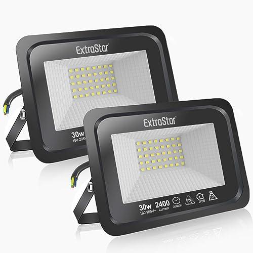 Focos LED exterior 30 Extrastar Potente Luces Led Exterior IP65, Luz de Seguridad Blanca frio 6500K para Terraza, Jar...