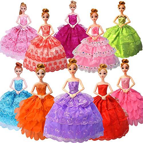 Fancy Doll Clothes for Barbie Girls Dolls - 10 PCS Handmade 11.5 Inch Doll Clothes Wedding Dresses Gowns Outfits Costume Party Dress for Girls Kids Party Favor