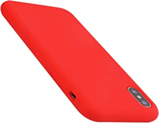 iPhone X Case Liquid Silicone Gel Rubber Case,Full Body Protection Shockproof Cover Case with Soft Microfiber Cloth Lining Cushion for Apple iPhone X (Red)