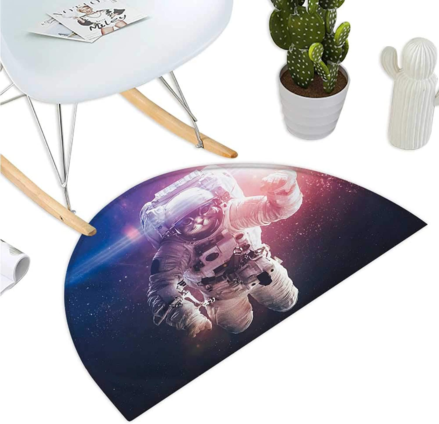 Space Cat Semicircular Cushion Flying Cat Without Gravity with Clusters Planet Eclipse Image Bathroom Mat H 47.2  xD 70.8  White Purple and Dark bluee