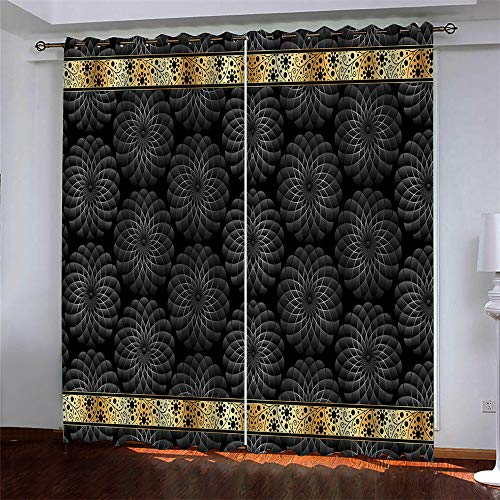 YUNSW Fashion Ideas 3D Digital Printing Polyester Fiber Curtains, Garden Living Room Kitchen Bedroom Blackout Curtains, Perforated Curtains 2 Piece Set