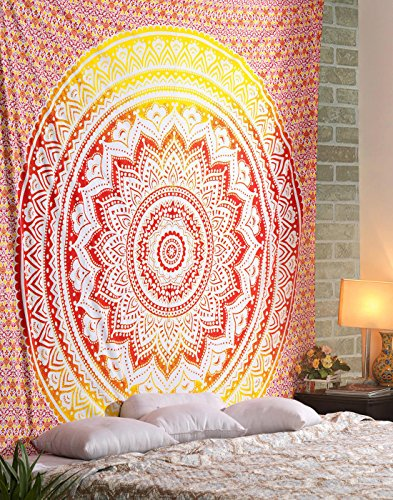 ele ELEOPTION Wandteppich Indian Mandala Wall Hanging Hippie Tapestry Wanddeko für Kinderzimmer Wohnzimmer Schlafzimmer auch als Yogamatte Picknickdecke Strandtücher (Rot und Gelb, 150 x 205cm)