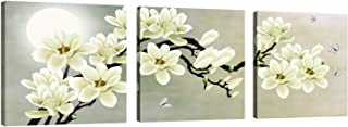 Canvas Wall Art 3 Panels Moon White Magnolia & Butterfly Prints on Canvas Modern Painting Stretched and Framed Artwork for Living Room Bedroom Home Decor