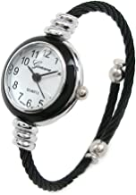 New Geneva Black Silver Cable Band Women's Small Size Bangle Watch