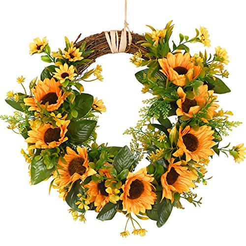 Artificial Sunflower Wreath with leaves and a raffia hanger