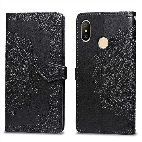 Bear Village Hülle für Xiaomi MI Max 3, PU Lederhülle Handyhülle für Xiaomi MI Max 3, Brieftasche Kratzfestes Magnet Handytasche mit Kartenfach, Schwarz