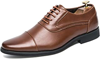 Sygjal Men's Oxfords Classic Modern Round Captoe Lace up Shoes (Color : Brown, Size : 38 EU)