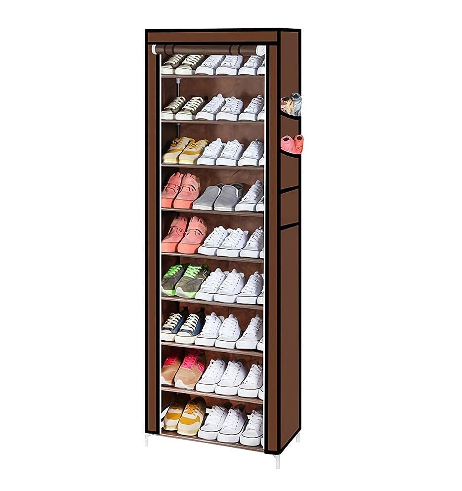 自動的にテンポ生態学YUZO カバー付きシューズラック9段 靴箱収納 下駄箱 玄関収納 組立簡単 幅60cm×奥行30cm×高さ160cm 【一ヶ月返品保証】