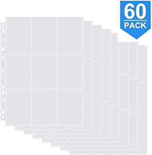 Farielyn-X 9-Pocket Baseball Card Sleeves for 11 Ring Binder, Clear Heavyweight Trading Card Binder Sleeves, Double Sided (60 Pages, 540 Pockets)