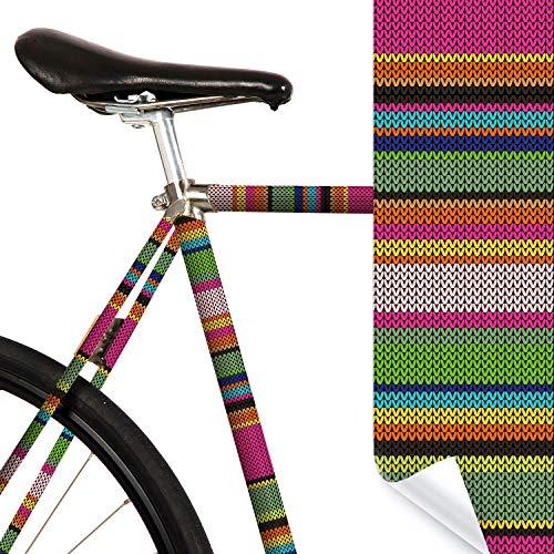 MOOXIBIKE Urban Knitting Streifen bunt Mini Fahrradfolie mit Muster für Rennrad, MTB, Trekkingrad, Fixie, Hollandrad, Citybike, Scooter, Rollator für circa 13 cm Rahmenumfang