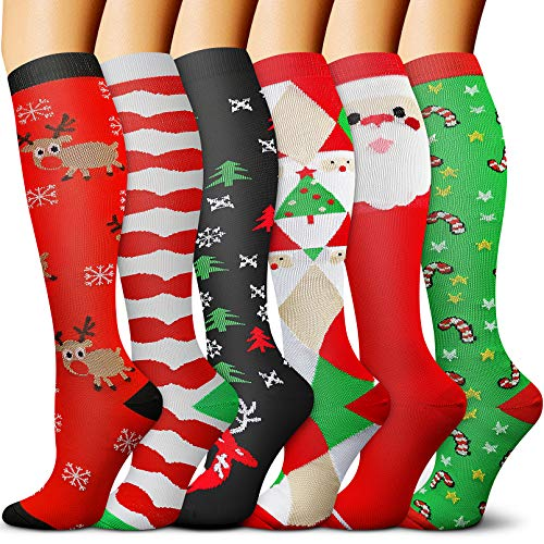CHARMKING Merry Christmas Compression Socks 15-20mmHg is BEST Graduated Athletic & Daily for Men & Women Running,Travel,Nurses,Pregnant Blood Circulation & Recovery(Chris01,S/M)