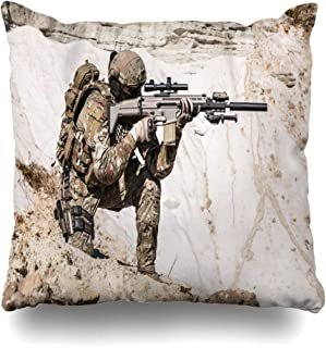 Ahawoso Throw Pillow Covers Ops Soldier United States Army Ranger Gun Mountains Special Afghan Afghanistan American Home Decor Zippered Pillowcase Square Size 20 x 20 Inches Cushion Case