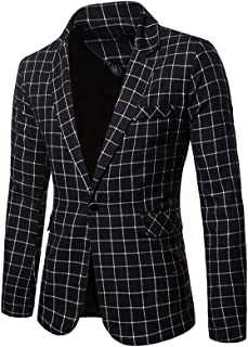 Men's Casual Blazer Regular Fit Plaid One Button Business Suit Jacket Sport Coat