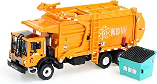 duturpo 1/43 Scale Diecast Collectible Waste Management Truck with Trash Bin, Metal Recycling Garbage Truck Toys for Kids (Orange)
