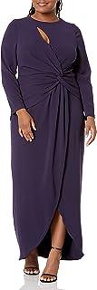 Dress the Population womens Naomi Longsleeve Jersey Knit Twist Long Maxi Gown Dress PLUS Dress