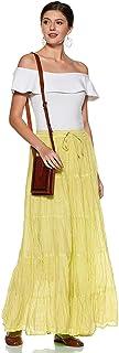 Habiller Falda elástica de algodón para mujer, longitud al tobillo, casual, banda elástica sólida, 25 yardas, falda de lín...
