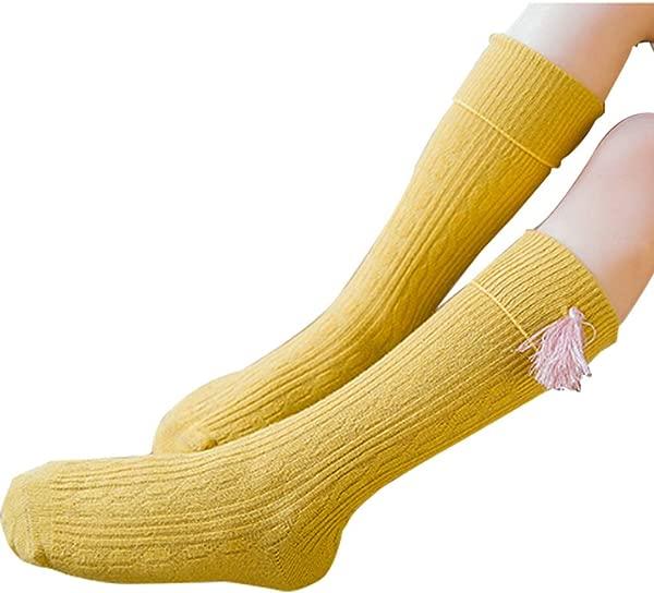 TraveT Girls Plain Knee High Socks Long Stretch School Dress Princess Tassel Charm Stocking Ginger Yellow