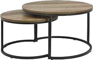 [en.casa] Set de 2 Tables Basses Rondes Gigognes Table de Salon Panneaux de Particules Métal Tailles Différentes Effet Boi...